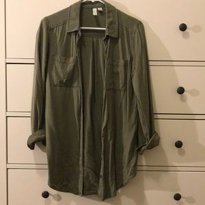 Olive Green Button-Up Tunic